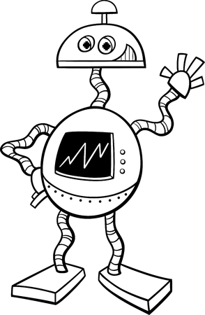 droid: Black and White Cartoon Illustration of Robot or Droid Science Fiction Character for Coloring Book