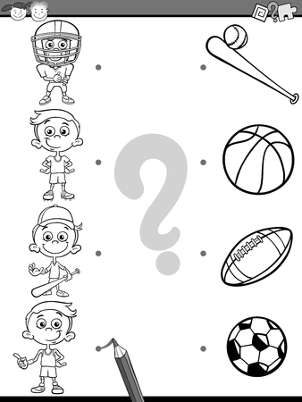 correspond: Black and White Cartoon Illustration of Education Picture Matching Task for Preschool Children with Sports For Coloring