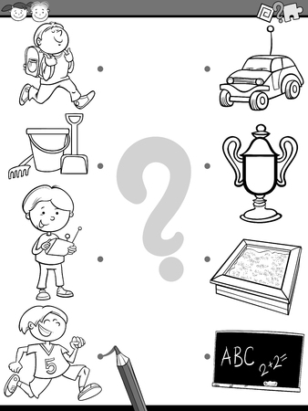 Black and White Cartoon Illustration of Education Picture Matching Task for Preschool Children For Coloring