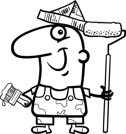house painter: Black and White Cartoon Illustration of Funny House Painter Worker for Coloring Book Illustration