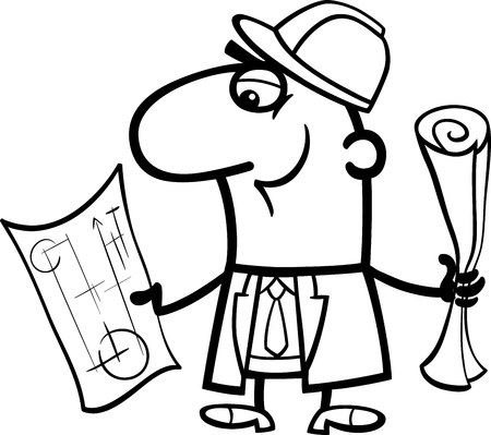 engineers: Black and White Cartoon Illustration of Funny Structural Engineer with Plans for Coloring Book