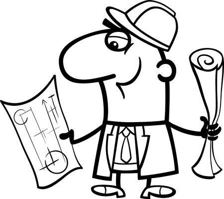 ingeniero caricatura: Ilustración de dibujos animados Blanco y Negro de Ingeniero Estructural divertido con los planes para colorear libro Vectores