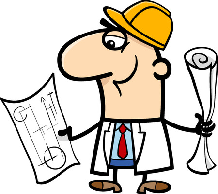 engineers: Cartoon Illustration of Funny Structural Engineer with Plans Illustration