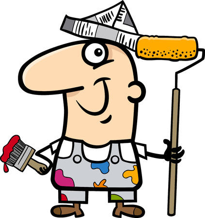 house painter: Cartoon Illustration of Funny House Painter Worker