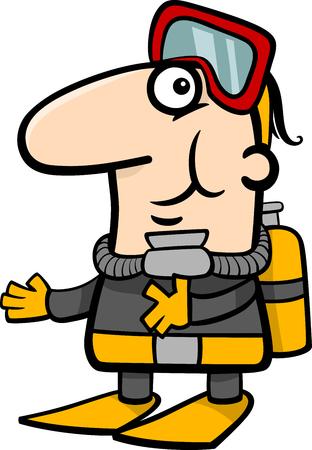 Cartoon Illustration of Funny Scuba Diver in Diving Suit Illustration