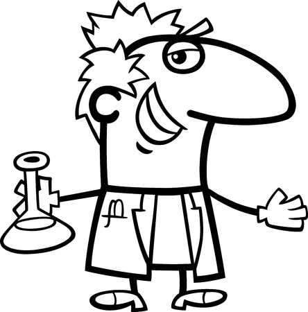 a substance vial: Black and White Cartoon Illustration of Funny Scientist with Mixture in Vial for Coloring Book