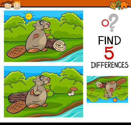 task: Cartoon Illustration of Finding Differences Educational Task for Preschool Children with Animal Character