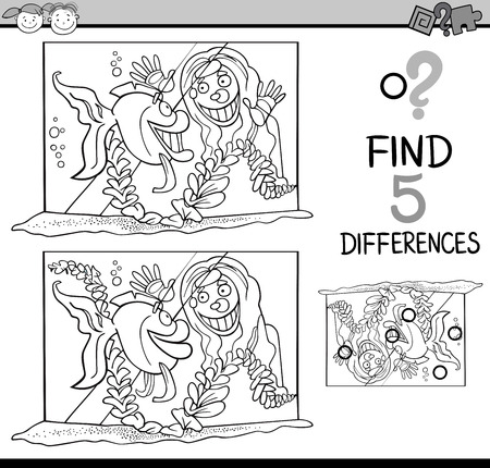 tank fish: Black and White Cartoon Illustration of Finding Differences Educational Task for Preschool Children with Girl and her Fish in Tank for Coloring Book Illustration