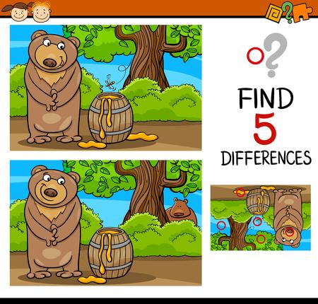 Cartoon illustrazione di trovare differenze Formazione compito per bambini in età prescolare con Bear and Honey