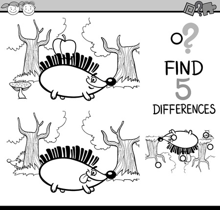 hedgehog: Black and White Cartoon Illustration of Finding Differences Educational Task for Preschool Children with Hedgehog Animal Character for Coloring Book Illustration