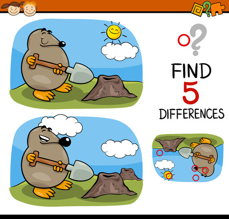 animal mole: Cartoon Illustration of Finding Differences Educational Task for Preschool Children with Mole Animal Character