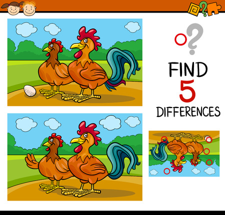 find: Cartoon Illustration of Finding Differences Educational Task for Preschool Children with Rooster and Hen Farm Animal Characters