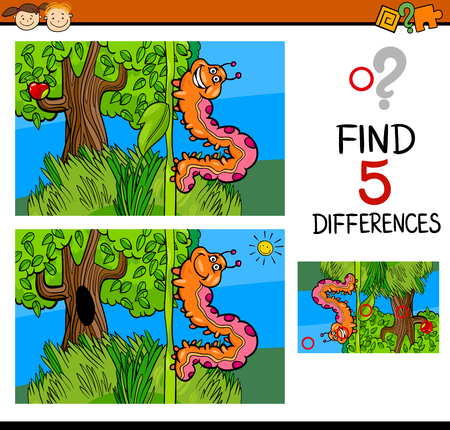 task: Cartoon Illustration of Finding Differences Educational Task for Preschool Children with Caterpillar Insect Character