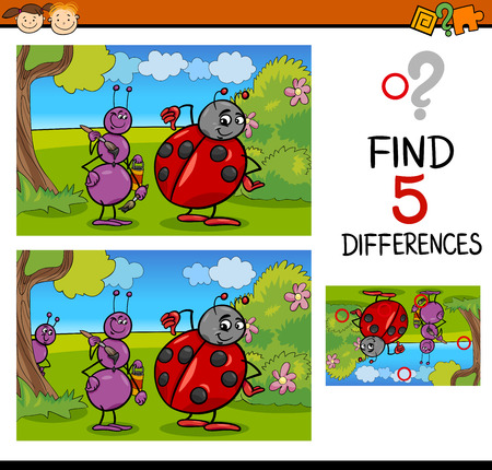 spot the difference: Cartoon Illustration of Finding Differences Educational Task for Preschool Children with Ant and Ladybug Insect Characters