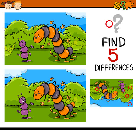 cartoon ant: Cartoon Illustration of Finding Differences Educational Task for Preschool Children with Ant and Caterpillar Insect Characters
