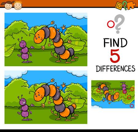 hormiga caricatura: Ilustración de dibujos animados de encontrar diferencias para la Educación de tareas para niños en edad preescolar con caracteres de insectos hormigas y orugas Vectores