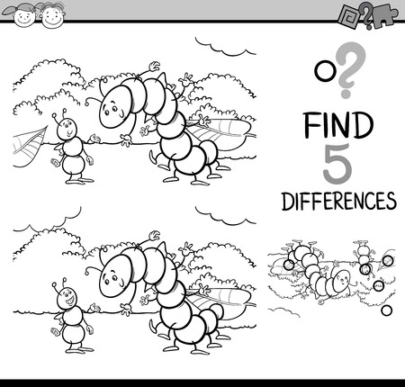 spot the difference: Black and White Cartoon Illustration of Finding Differences Educational Task for Preschool Children with Ant and Caterpillar Insect Characters for Coloring Book