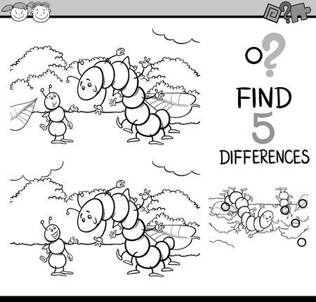 oruga: Dibujos animados de blanco y negro Ilustración de encontrar diferencias para la Educación de tareas para niños en edad preescolar con caracteres hormigas y orugas de insectos para colorear libro