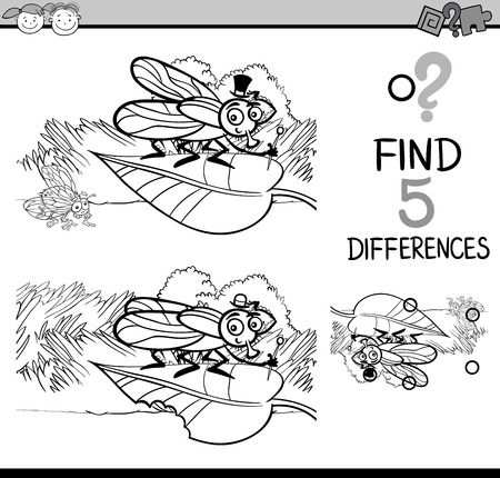 spot the difference: Black and White Cartoon Illustration of Finding Differences Educational Task for Preschool Children with Fly Insect Character for Coloring Book