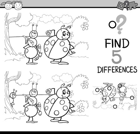 ladybug cartoon: Black and White Cartoon Illustration of Finding Differences Educational Task for Preschool Children with Ant and Ladybug Insect Characters for Coloring Book