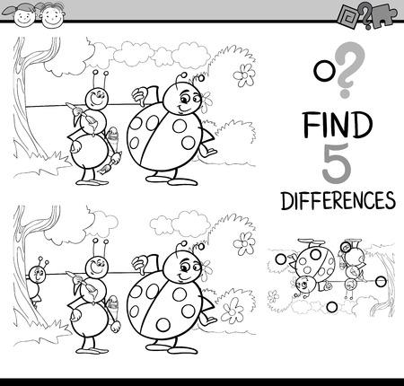 catarina caricatura: Dibujos animados de blanco y negro Ilustración de encontrar diferencias para la Educación de tareas para niños en edad preescolar con caracteres de hormigas y mariquita de insecto para colorear libro Vectores