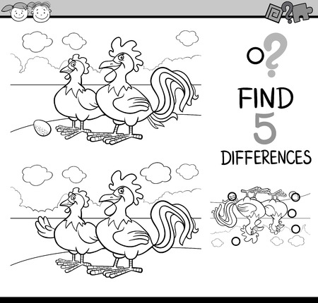 spot the difference: Black and White Cartoon Illustration of Finding Differences Educational Task for Preschool Children with Rooster and Hen Farm Animal Characters for Coloring Book