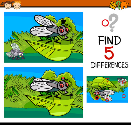 spot: Cartoon Illustration of Finding Differences Educational Task for Preschool Children with Fly Insect Character