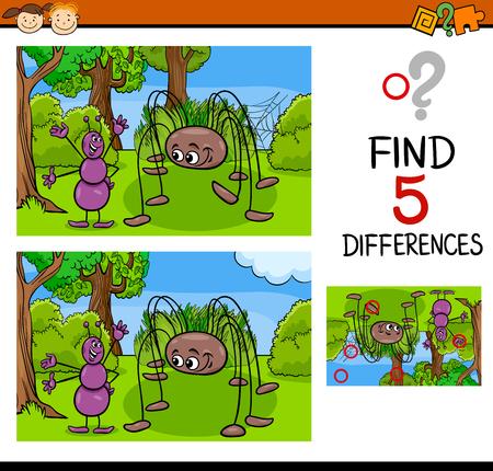 Cartoon Illustration de trouver des différences tâche éducative pour enfants d'âge préscolaire Personnage insectes fourmis et araignées