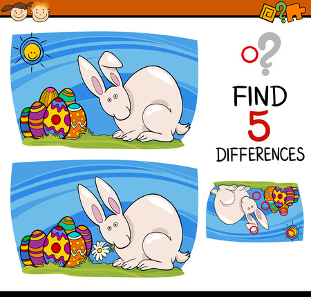 spot the difference: Cartoon Illustration of Finding Differences Educational Task for Preschool Children with Easter Bunny