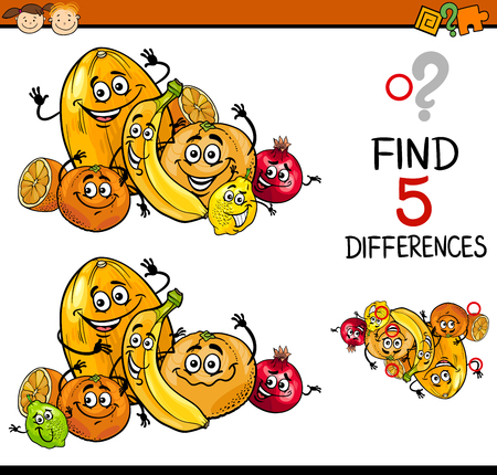 frutas divertidas: Ilustración de dibujos animados de encontrar diferencias para la Educación de tareas para niños en edad preescolar con caracteres de la fruta cítrica