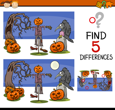 spot the difference: Cartoon Illustration of Finding Differences Educational Task for Preschool Children with Halloween Characters