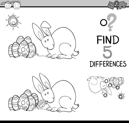 is different: Black and White Cartoon Illustration of Finding Differences Educational Task for Preschool Children with Easter Bunny for Coloring Book