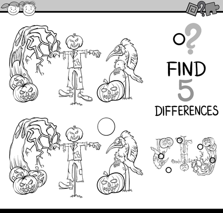 spot the difference: Black and White Cartoon Illustration of Finding Differences Educational Task for Preschool Children with Halloween Characters for Coloring Book Illustration