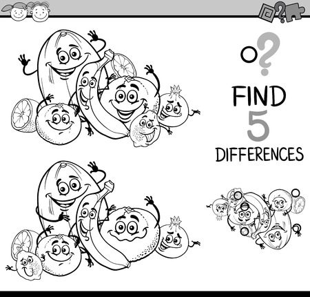 different: Black and White Cartoon Illustration of Finding Differences Educational Task for Preschool Children with Citrus Fruit Characters for Coloring Book