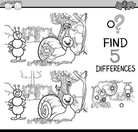 different: Black and White Cartoon Illustration of Finding Differences Educational Task for Preschool Children with Ant and Snail Characters for Coloring Book Illustration