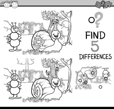 libro caricatura: Dibujos animados de blanco y negro Ilustración de encontrar diferencias para la Educación de tareas para niños en edad preescolar con caracteres Hormiga y caracol para colorear libro