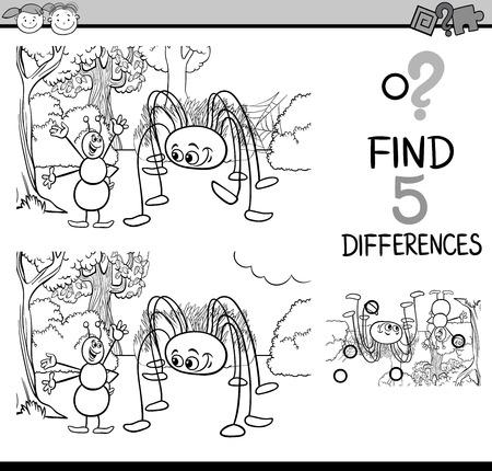 Bianco e nero fumetto illustrazione di trovare differenze Formazione compito per bambini in età prescolare con caratteri Ant e Spider insetti per Coloring Book