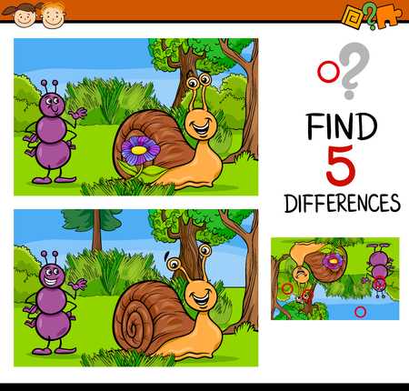 hormiga caricatura: Cartoon Illustration of Finding Differences Educational Task for Preschool Children with Ant and Snail Characters Vectores