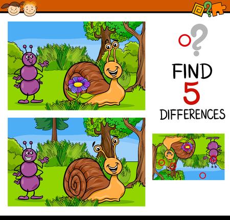hormiga caricatura: Ilustración de dibujos animados de encontrar diferencias para la Educación de tareas para niños en edad preescolar con caracteres Hormiga y caracol