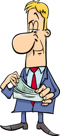 counting money: Cartoon Illustration of Funny Businessman Character Counting Money Illustration
