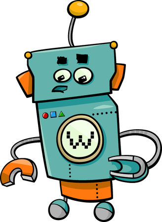 droid: Cartoon Illustration of Robot or Droid Comic Character