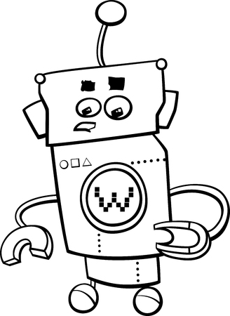Black and White Cartoon Illustration of Robot or Droid Comic Character for Coloring Book