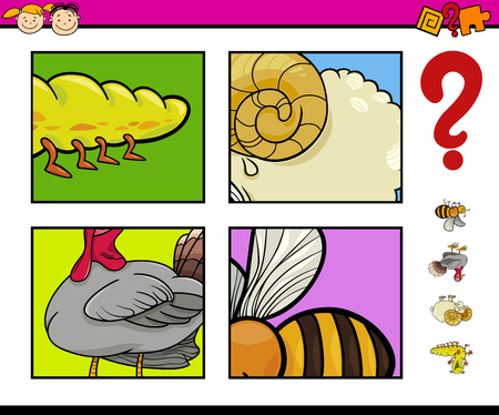 and guessing: Cartoon Illustration of Educational Game of Guessing Animals for Preschool Children