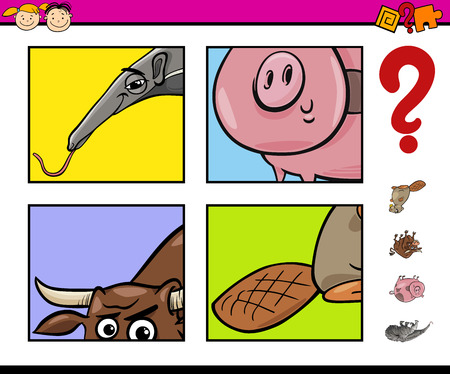 guessing: Cartoon Illustration of Educational Task of Guessing Animals for Preschool Children