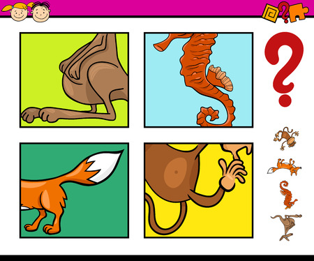 guess: Cartoon Illustration of Educational Task for Preschool Children with Animals Riddle Illustration