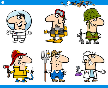 Cartoon Illustration of Professional People Occupations Characters Set