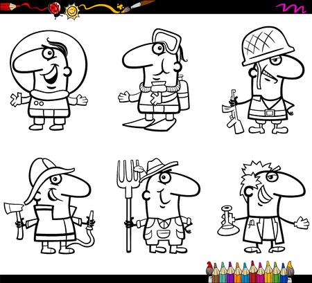 Coloring Book Cartoon illustratie van professionele mensen Beroepen Characters Set