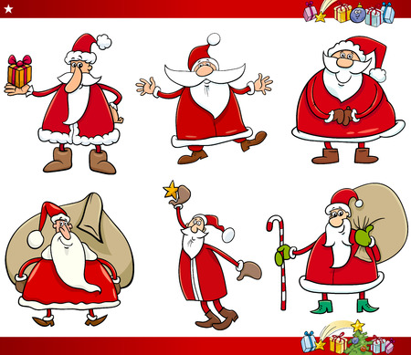 claus: Cartoon Illustration of Santa Claus with Presents on Christmas Time Set Illustration