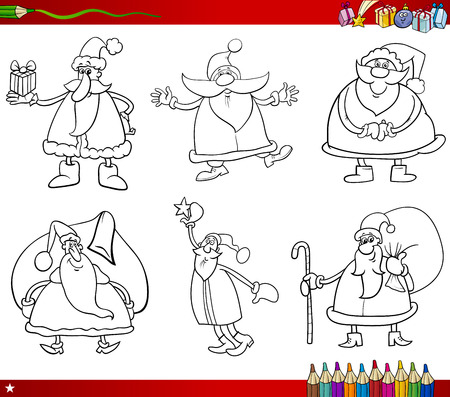 clip art santa claus: Coloring Book Cartoon Illustration of Black and White Christmas Themes Set with Santa Claus Characters