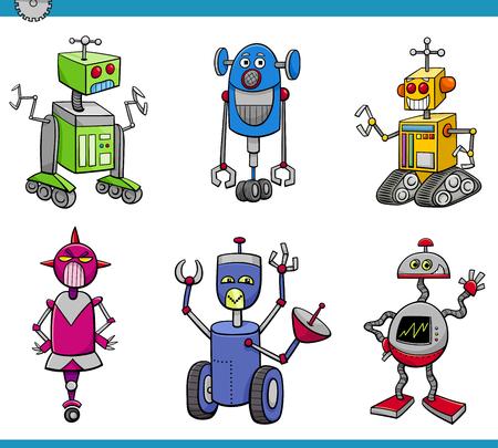 droid: Cartoon Illustration of Robots or Droids Fantasy Set
